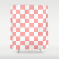Coral Pink Checker Squares Shower Curtain by BeautifulHomes   Society6