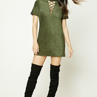 Faux Suede Strappy-Front Dress