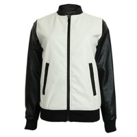 ZYLC Black and White Leather Look Baseball Bomber Jacket for Women