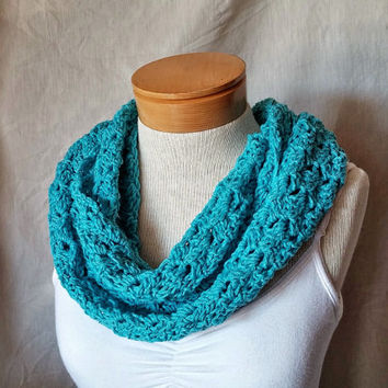 Turquoise cowl  scarf Crochet neck warmer Teal blue recyled cotton cashmere wrap Ladies teen shrug Infinity long loop Circle scarf