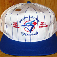 Toronto BLUE JAYS 1992 1993 Back To Back World Champions Vintage 90s Official Licensed MLB Pin Stripe Snapback Hat Midway Deadstock Ball Cap