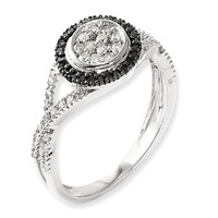 Sterling Silver Black And White Diamond Round Halo Twist Ring