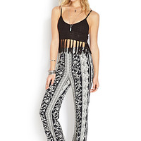 FOREVER 21 Abstract Print Wide-Leg Pants Black/Cream