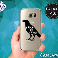 Trick Or Treat Crow Halloween Inspired Scary Tumblr Case for Clear Rubber Samsung Galaxy S6 Samsung Galaxy S6 Edge Galaxy S7 and S7 Edge