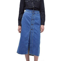 Button Through Denim Midi Skirt