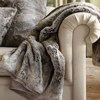 Faux Fur Throw - Gray Ombre