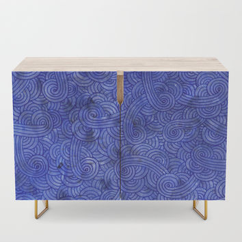 Royal blue swirls doodles Credenza by savousepate
