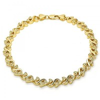 Gold Layered 03.210.0061.10 Fancy Anklet, Heart Design, Polished Finish, Golden Tone