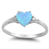 Sterling Silver Heart Promise Love Girls Kids Jewelry Ring Sizes 3-12 (All Colors Available)