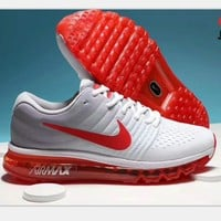 NIKE AirMax Trending Fashion Casual Sports Shoes gray/red soles H-PSXY