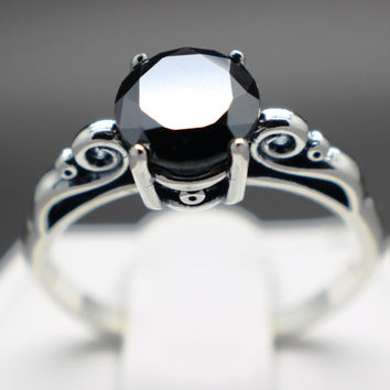1.46cts 7.11mm AAA Grade Natural Jet Black Diamond Engagement Ring Certified, Graded and Apprasied!