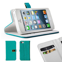 Apple iPhone 5C Blue PU Leather Magnetic Wallet Flip Folio Case Cover Stand (with 2 Card Slots)