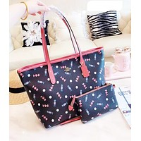 Coach fashion ladies' candy print shopping bag hot seller of casual two-piece one-shoulder bag