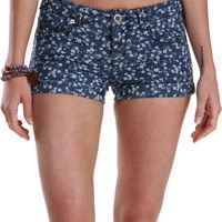 Sale-denim Ditsy Floral Print Shorts