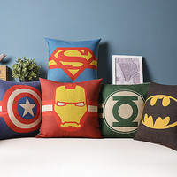 superman Batman Green Lantern Sign Mark linen cushion pillow 18X18