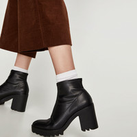 SOCK-STYLE ANKLE BOOTS WITH TRACK SOLE