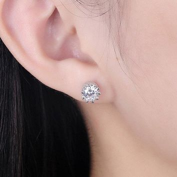 Sterling Silver Rhinestone Tiny Stud Earrings