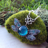 Navi Inspired Fairy Guide Pendant Necklace - Legend of Zelda Jewelry - Link Necklace - Crystal Pendant - Fandom Jewelry - Cosplay Geekery