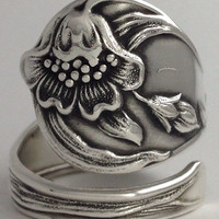 Size 8.5 Vintage Sterling Silver Single Flower Spoon Ring