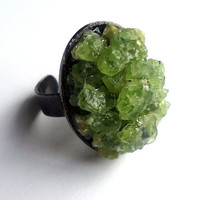 Raw peridot adjustable brass ring - raw stone ring - green gemstone ring - natural stone ring - brass ring - cocktail ring - chunky ring