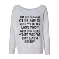 Nash Grier So He Calls Me Up Wideneck Slouchy Women's Sweatshirt Triblend White Fashion Grey Marble Blue