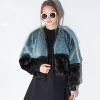 Blue Black Faux Fur Ribbed Short Coat