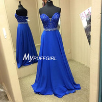 Royal Blue Plunging Sweetheart Prom Dress With Lace Appliques Bodice