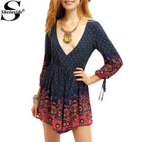 Sheinside Summer Women Playsuits 2016 New Arrival Female Navy Long Sleeve Vintage Printed Deep V Neck Backless Sexy Beach Romper
