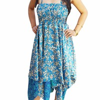 Mogul Interior Women Silk Halter Dress Two Layer Beach Sundress S/M (Beige,Blue): Amazon.ca: Clothing & Accessories