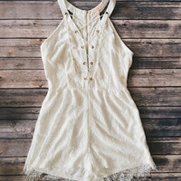 Annalise Lace Up Romper (White)