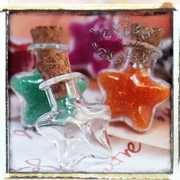 3 Pcs Small STAR Shaped Empty Glass Jars Vials Bottles Tiny Containers w Corks -Miniature Deco Craft Cute Jewelry Pendants Making (SP.LS)
