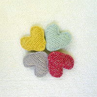 Crochet hearts, home decor, valentines gift, gift for her him, ornament, 5 pieces