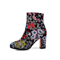 2017 New winter fashion women brand shoes embroidery high heel round toe floral women ankle boots thin heel chinese style boots