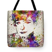 """Barbra Streisand in Color Tote Bag for Sale by Aged Pixel (18"""" x 18"""")"""