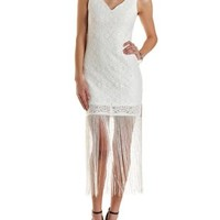White Bodycon Lace Fringe Dress by Charlotte Russe