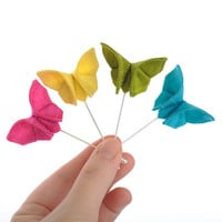 Wedding Boutonniere Silk Origami Butterfly Lapel Pin Neon Colors Stick Pin Buttonhole Bright Wedding 100 Colors GROUP DISCOUNT AVAILABLE
