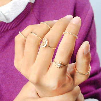 Simple Style Gold Ring 7Pcs