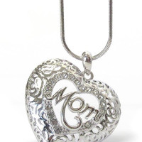 Mothers Day Mom Crystal Heart Pendant Necklace
