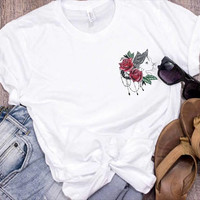 Crazy Cat Lady Red Rose Shirt/ Cat Shirts For Women Graphic Tees/ Flower Shirt/ Gift For Cat Lover Gift/ Cat Art Pocket Tee/ Feminist Shirt