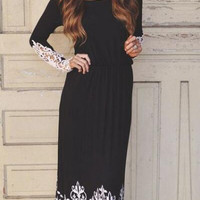 Black Casual Lace Patchwork Maxi Dress B0013763