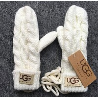 Tiktoki1 UGG Winter Popular Woman Men Knit Gloves White