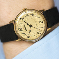 Gold plated men's watch, ornamented face gent's watch, folk style men's watch, wedding gift, black velure leather strap new