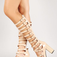 Patent Strappy Caged Gladiator Open Toe Chunky Heel Size: 5.5, Color: Black