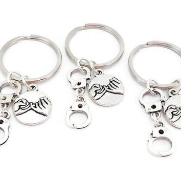 3 Friends Gift, Partners in Crime Keyrings, Pinkie Swear, Friendship Gifts, Silver Keychain, Christmas Present for Sisters, Best Mates, BFF