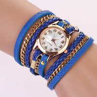 Leather Wrap Bracelet Watch - Dark Blue
