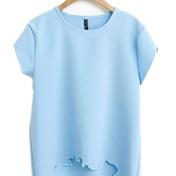 Pastel Blue Embroidered Asymmetric Crop Top