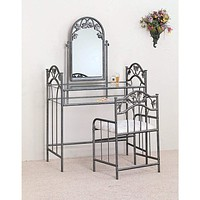 Opulent  Metal Vanity Set With Fabric Upholstered Stool, Gray