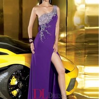 A-Line One Shoulder Chiffon Regency Long Prom Dress/Evening Gowns With Beading VTC593