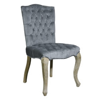 European Style Upholstered Tufted Microsuede Side / Dining Chairs (Dark Grey) - Set of 2