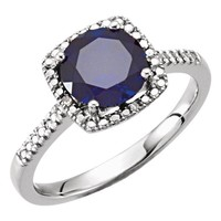 Sterling Silver Created Blue Sapphire & .01 CTW Diamond Halo-Style Ring